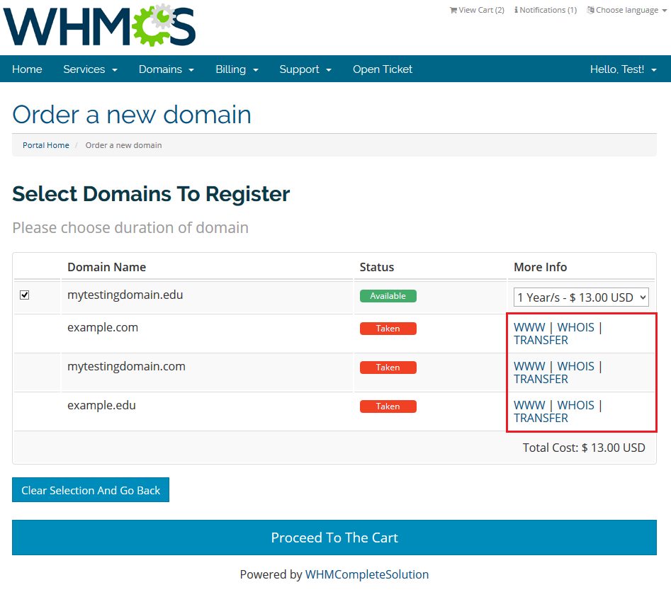 Domain Orders Extended 2 X For WHMCS - ModulesGarden Wiki