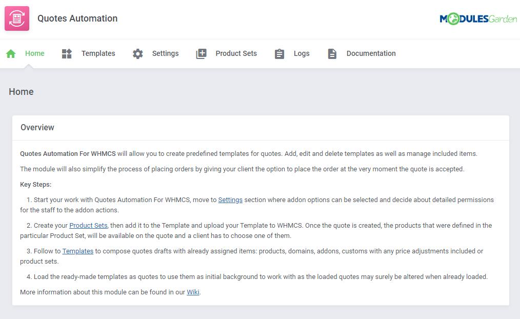 Quotes Automation For WHMCS - ModulesGarden Wiki