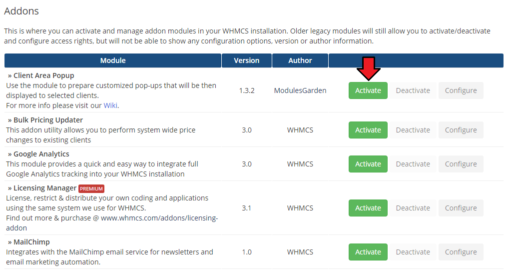 client area popup for whmcs modulesgarden wiki