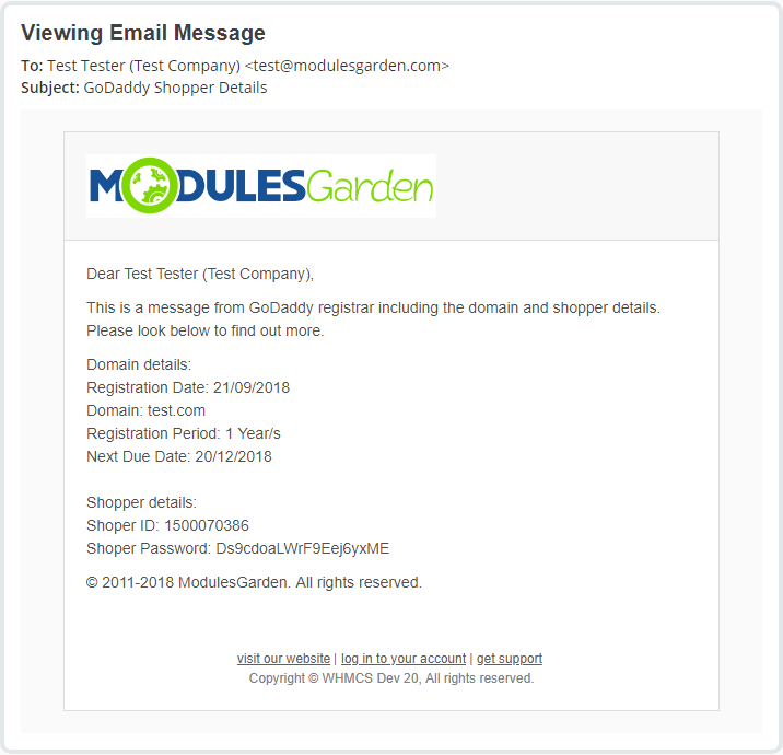 GoDaddy Domain Registrar For WHMCS - ModulesGarden Wiki