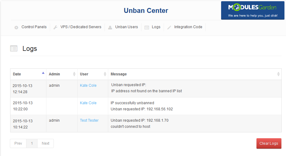 Unban Center 1 X For WHMCS - ModulesGarden Wiki